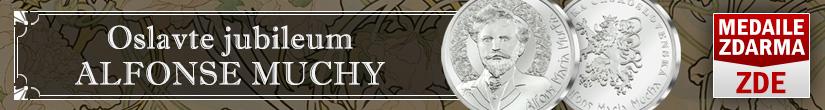Alfons Mucha - pamětní medaile zdarma pro Vás