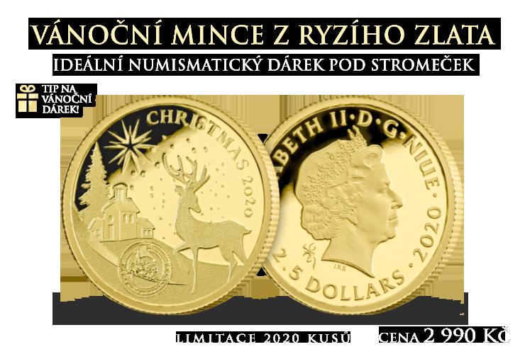 Veselé Vánoce 2020 na zlaté minci 0,50 g