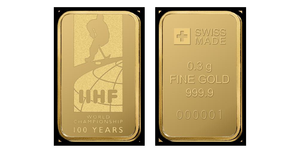 Zlatá mediale ve tvaru cihličky, 100. výročí MS v hokeji