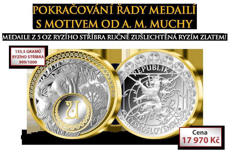 Pokračování řady medailí s motivem od A. M. Muchy