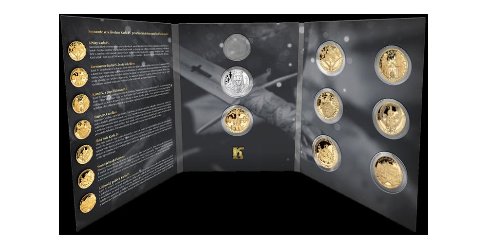 Sada sedmi pozlacených medailí Život Karla IV. v numismatickém albu