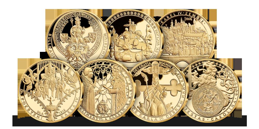 Sada sedmi pozlacených medailí Život Karla IV.