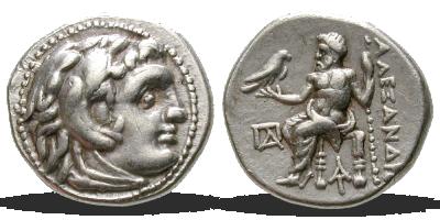 Stříbrná drachma - Alexander Veliký, 336-323 BC
