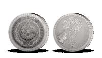 Aztécký kalendář na třech uncích ryzího stříbra