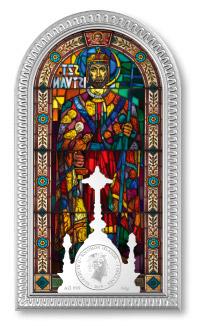 Stříbrná mince s vitráží sv Štěpána
