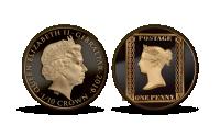 První známka světa na výroční zlaté minci