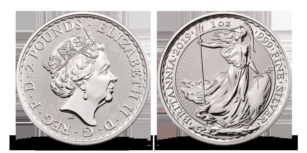 Stříbrná mince Britannia v numismatickém rámu