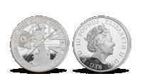 Tradiční britská mince s originálním moderním designem v 5 uncích stříbra
