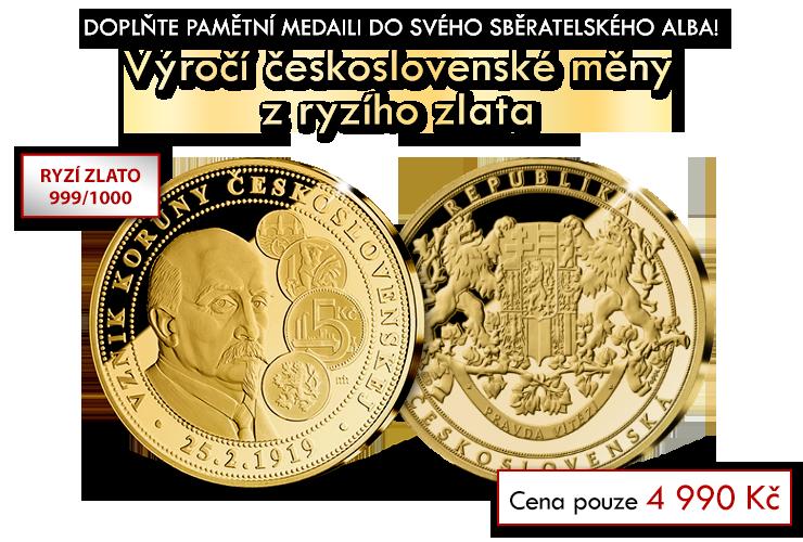 Výročí československé měny v ryzím zlatě