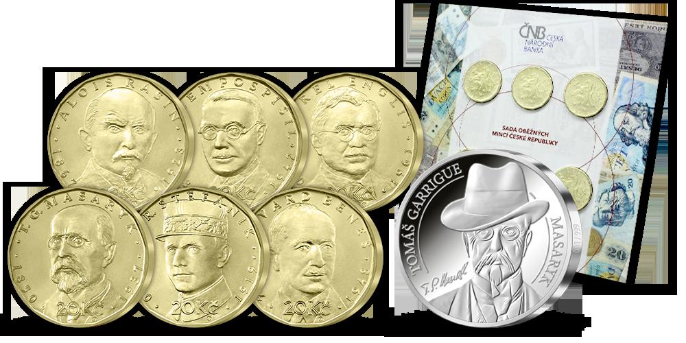ČNB sada oběžných 20 Kč se stříbrnou pamětní medailí Ražba dne T. G. Masaryk
