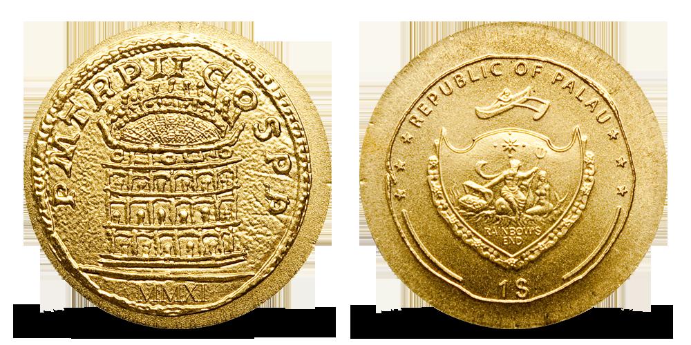 Antické Colosseum na věrné replice historické mince ze starého Říma