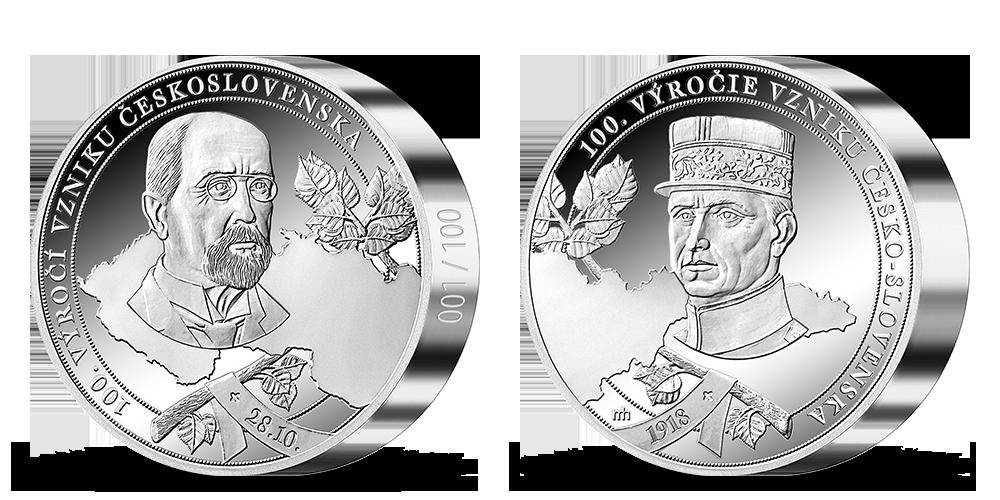 100. výročí vzniku Československa uctěno 1 kg ryzího stříbra