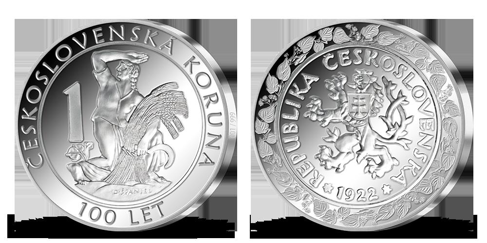ČSR měna na pamětní medaili vyražené ze 2 uncí ryzího stříbra