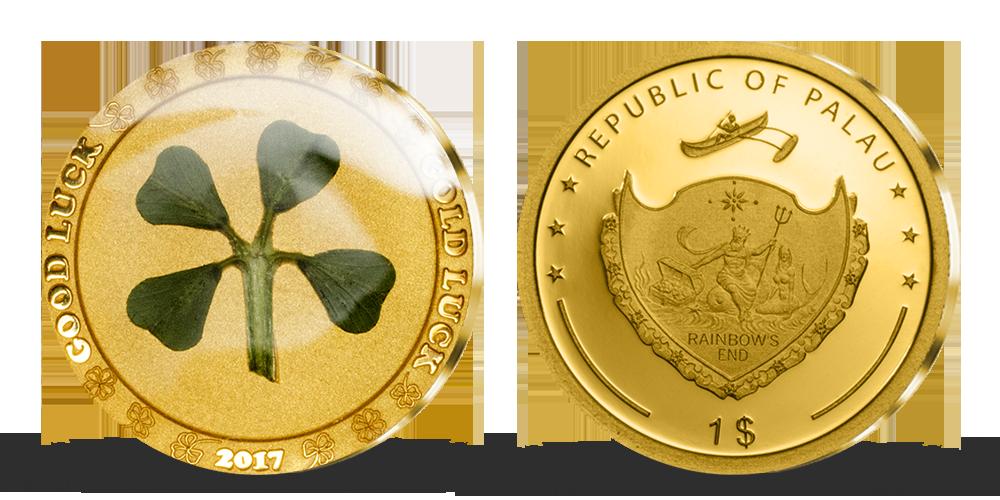 Zlatá mince se čtyřlístkem