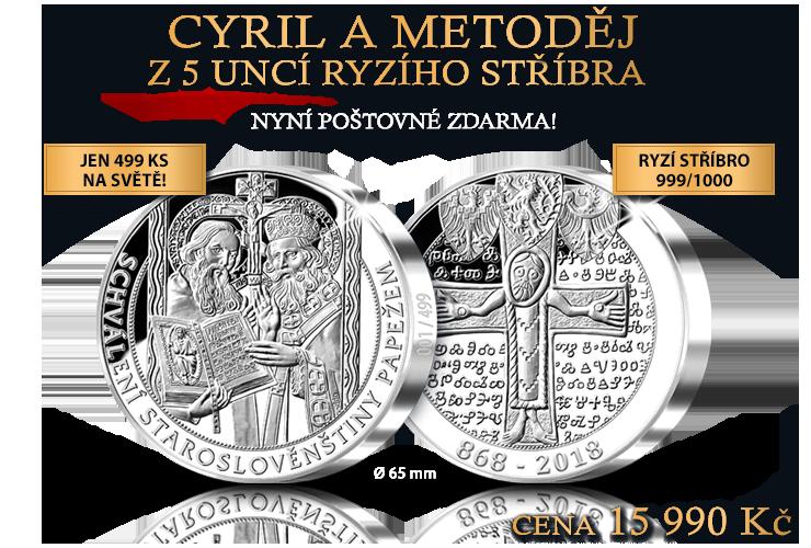 Cyril a Metoděj na 5uncové, číslované medaili z ryzího stříbra