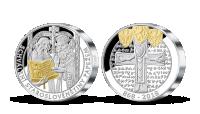 Cyril a Metoděj na pamětní medaili vyražené ze 2 uncí ryzího stříbra