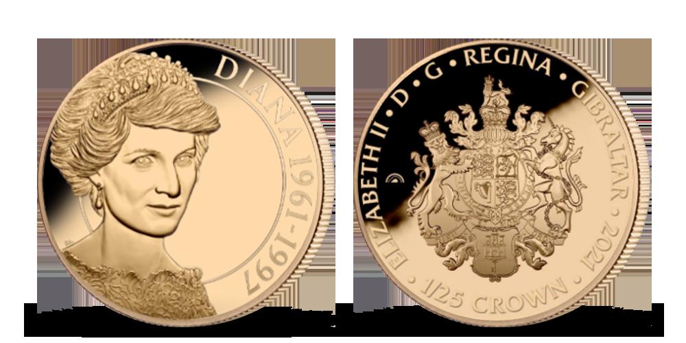 Princezna Diana na minci z ryzího zlata a plátované ryzím Fairmined růžovým zlatem