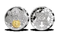 Dobová měna Karla IV. na stříbrné pamětní medaili