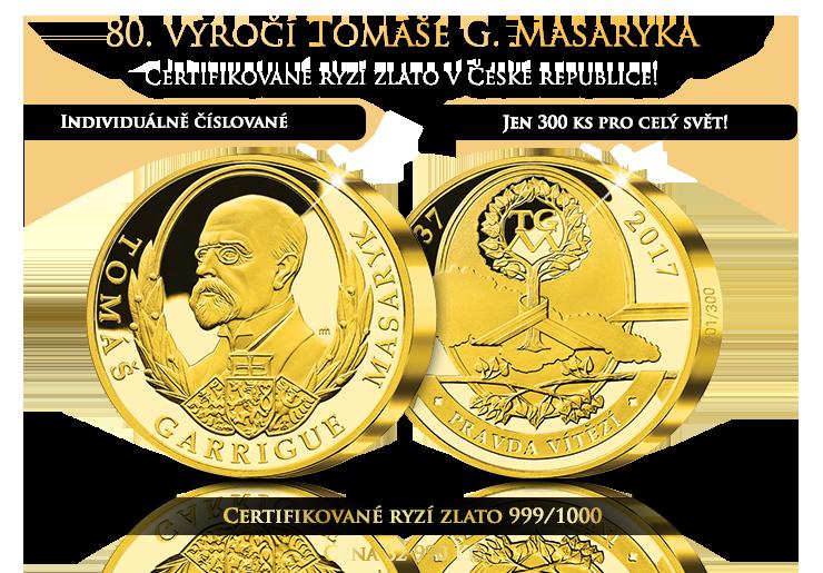 80. výročí T. G. Masaryka z Certifikovaného zlata