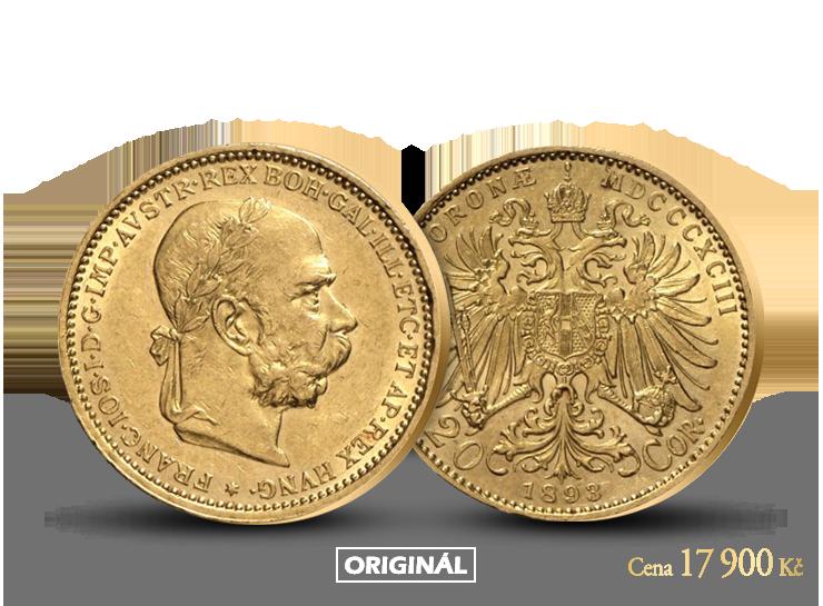 Historický originál jediné zlaté dvacetikoruny Františka Josefa I. s vavřínovým věncem!