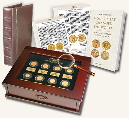 Zlaté století - příslušenství sbírky historických zlatých mincí