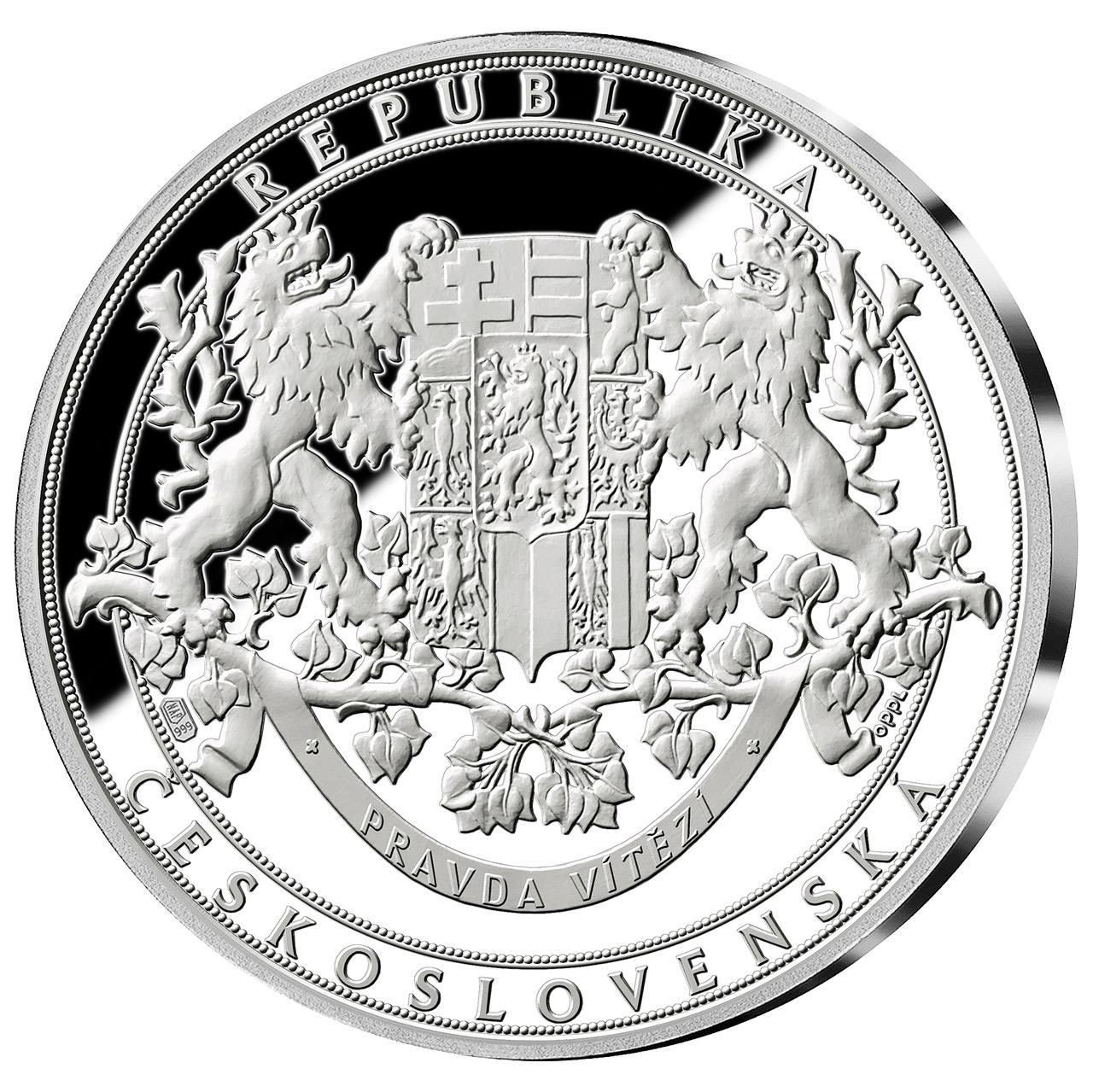 Společný revers všech pamětních medailích kolekce Historie Československa
