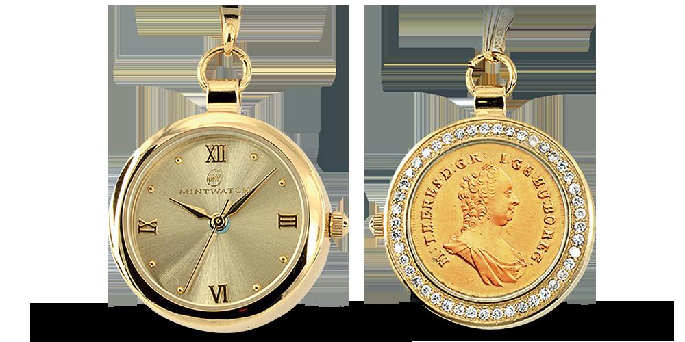 Dámské hodinky z originální mincí Marie Terezie