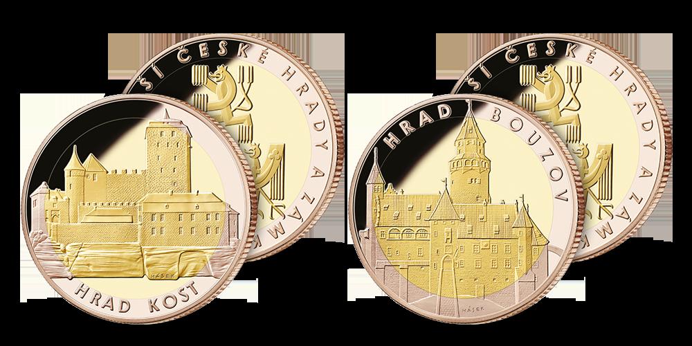 Hrad Kost a hrad Bouzov s mincovním rámem