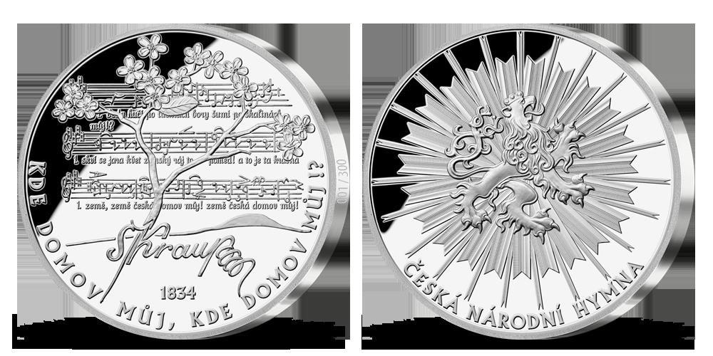 5uncová stříbrná medaile Česká hymna