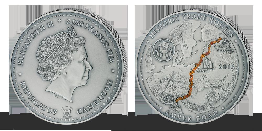 Pravý jantar na oficiální stříbrné minci