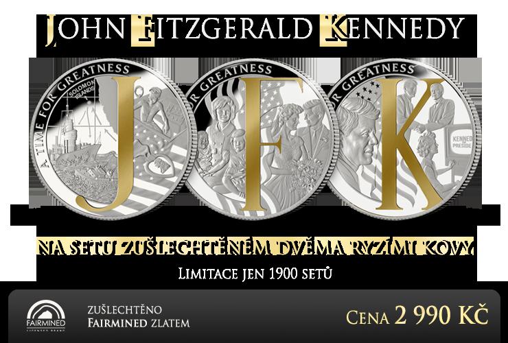 John Fitzgerald Kennedy na setu tří mincí