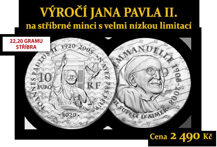 Jan Pavel II. a sestra Emmanuelle na stříbrné minci