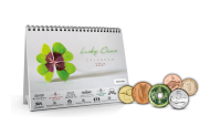 Exklusivní stolní kalendář pro štěstí s 12 mincemi z celého světa