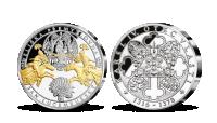 Rodiče Karla IV.: Jan Lucemburský a Eliška Přemyslovna. Stříbrná pamětní medaile