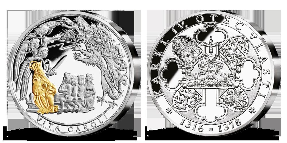 Stříbrná pamětní medaile Karel IV. a jeho životopis