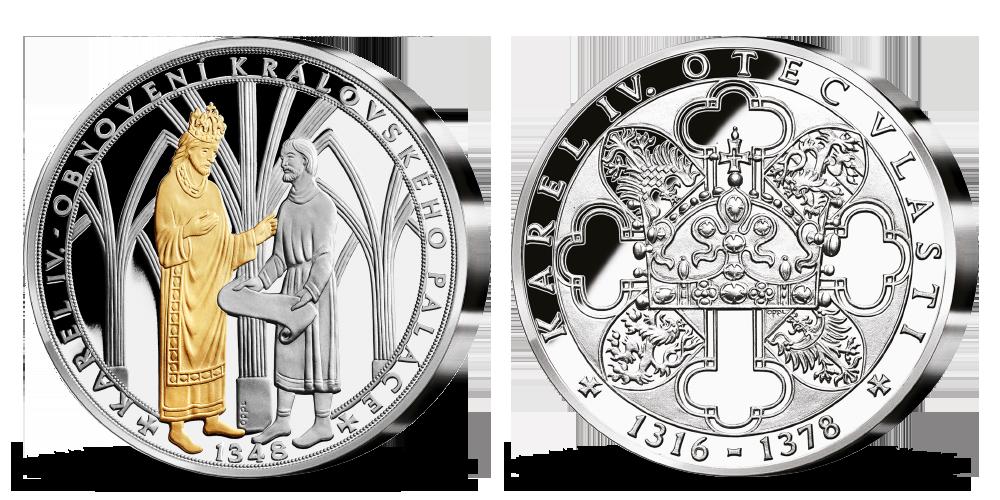 Stříbrná pamětní medaile Karel IV. a obnovení Královského paláce