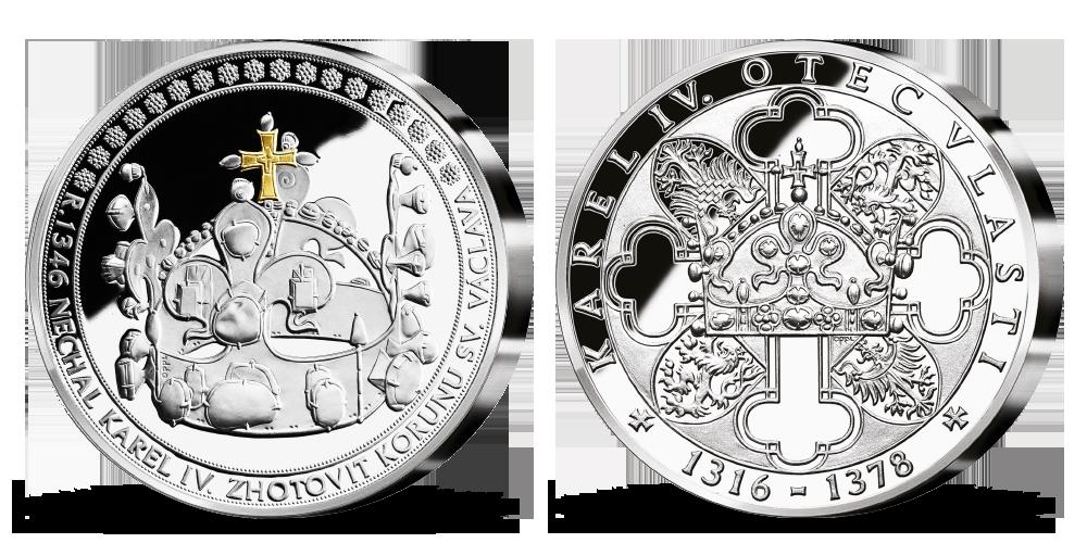 Stříbrná pamětní medaile Karel IV. a Svatováclavská koruna