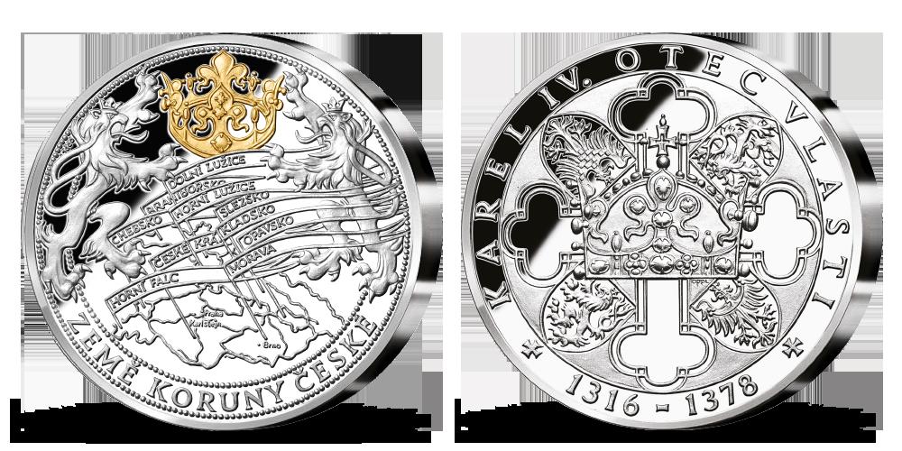 Stříbrná pamětní medaile Karel IV. a země Koruny české