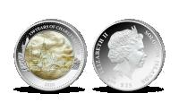 Karlův most na minci z 5 uncí ryzího stříbra