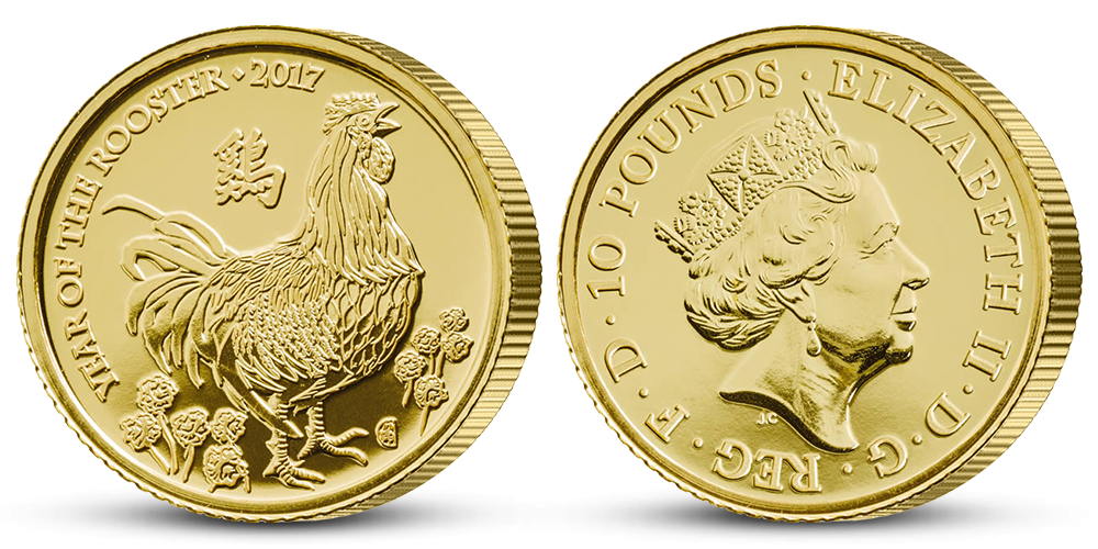 Rok Kohouta na oficiální zlaté minci z Británie