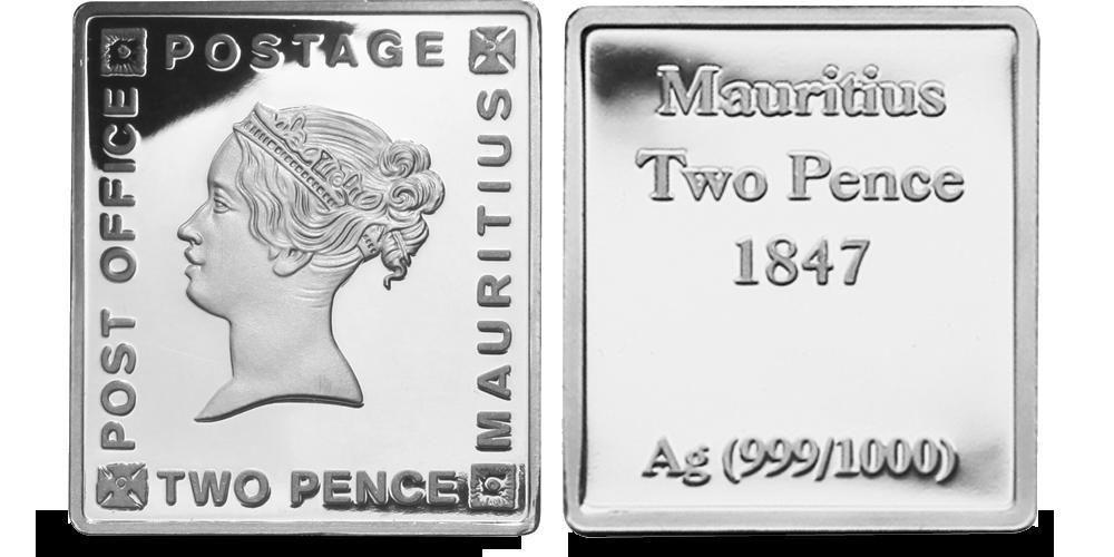 Stříbrné známky - Modrý Mauritius