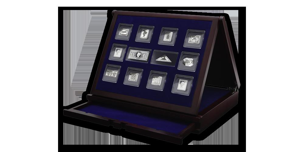 Stříbrné známky - Elegantní dřevěná kazeta