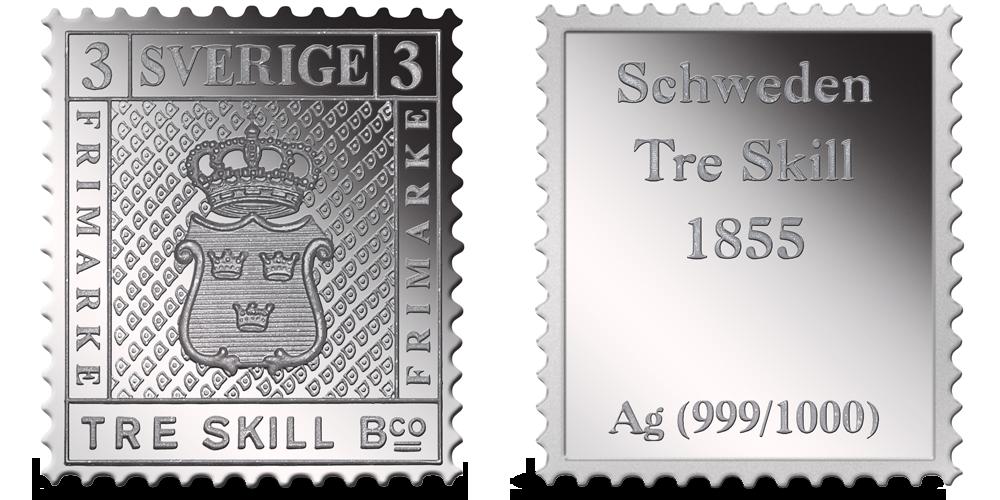 Stříbrné známky - Žlutá tříšilinková (Tre Skilling Yellow - Švédsko)