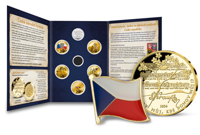Jako součást sbírky obdržíte ZDARMA numismatické album, odznak s českou vlajkou a pamětní medaili Česká hymna zušlechtěnou ryzím zlatem