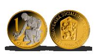 1 Kčs Československá mince zušlechtěná ryzím zlatem a rhodiem