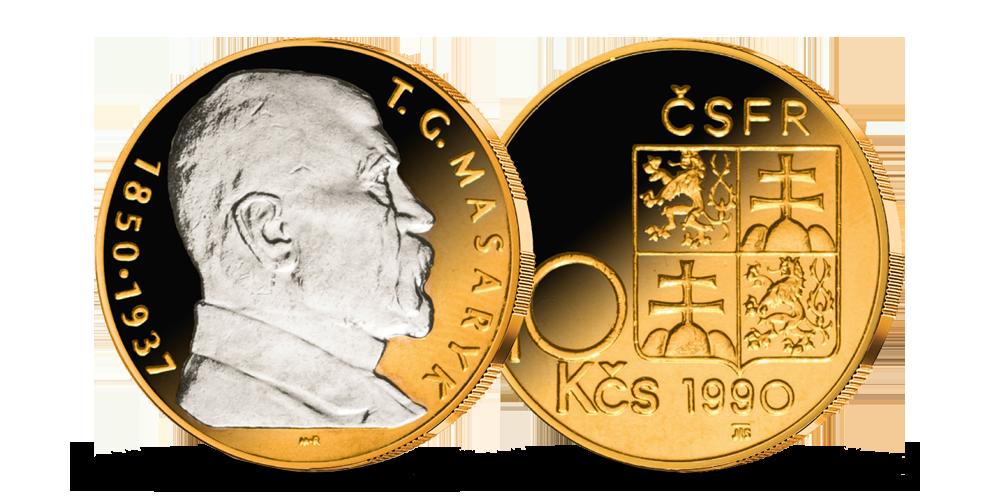 10 Kčs z let 1990-1993 mince zušlechtěná ryzím zlatem a rhodiem