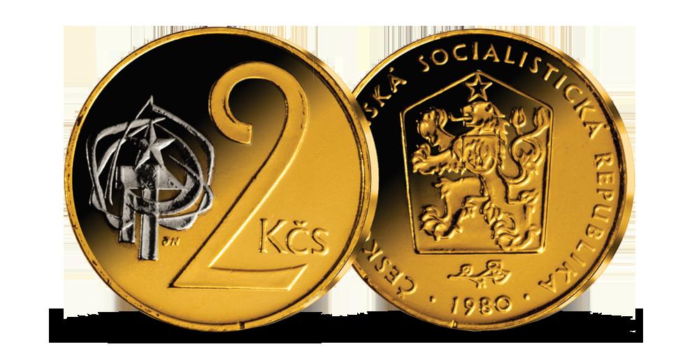 2 Kčs z let 1972-1990 mince zušlechtěná ryzím zlatem a rhodiem