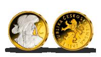 2 Kčs Československá mince zušlechtěná ryzím zlatem a rhodiem