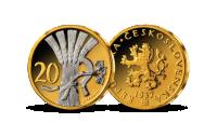 20 h z let 1921-1938 mince zušlechtěná ryzím zlatem a rhodiem