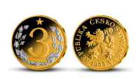 3 Kčs Československá mince zušlechtěná ryzím zlatem a rhodiem